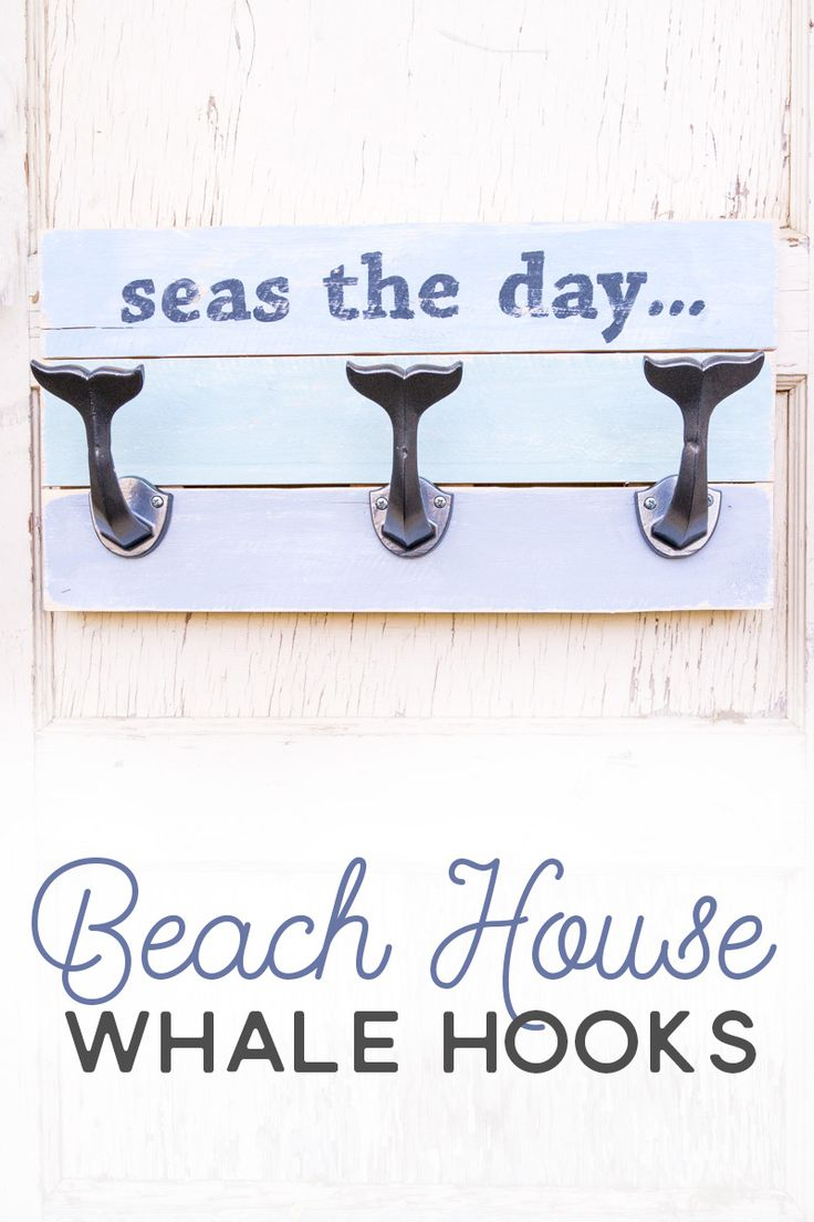 Whether you have your own personal beach house or you just love to decorate with beach decor, you're going to love this DIY beach sign with whale hooks!