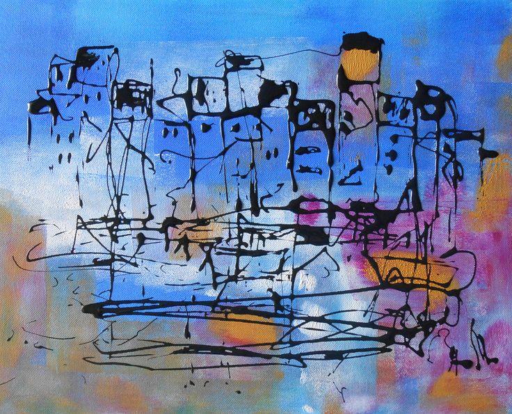 Tableau Design - Petit Port d'Honfleur- peintures-axelle-bosler : Peintures par peintures-axelle-bosler