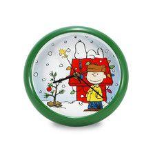 "Peanuts 8"" Battery Operated Musical Holiday Snoopy Dog House Christmas Carol Wall Clock"