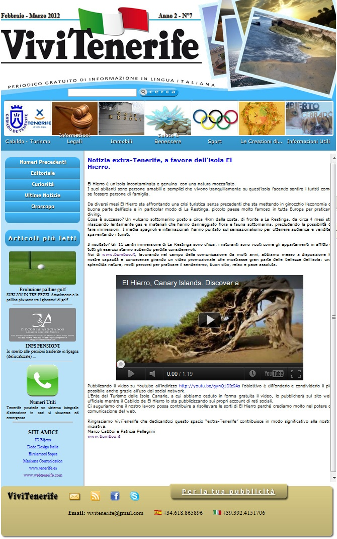 Thanks to #vivitenerife journal for the publication of our #ElHierro #video and #article!
