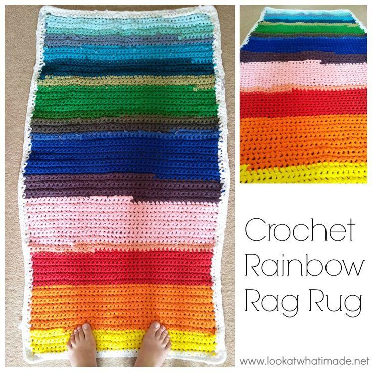 T Shirt Rag Rug Tutorial: This Crochet Rainbow Rag Rug Is The Perfect Beginners