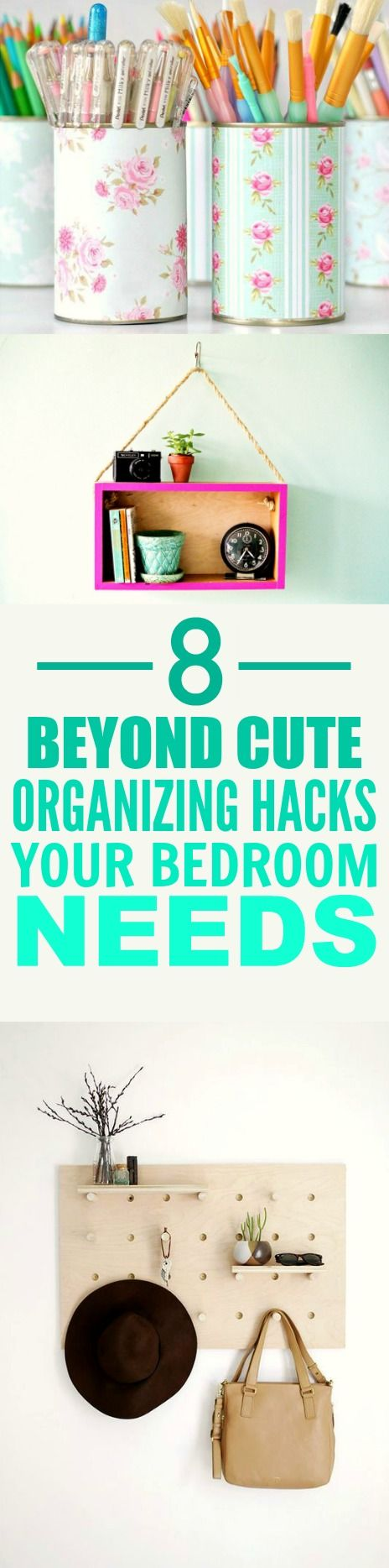 These 8 super cute bedroom organizing hacks and tips are THE BEST! I'm so glad I found this AMAZING post! Now I have some ideas on how to organize my room an make it look pretty! Definitely pinning for later!