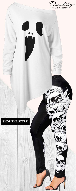 ebcbd24d712 Choose the halloween plus size skew neck asymmetric graphic sweatshirt.   dresslily  halloween