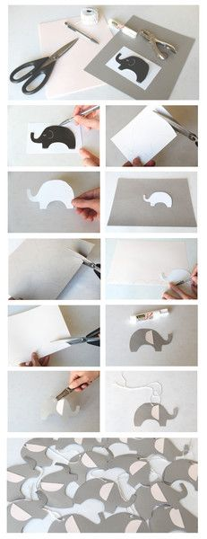 How to make Elephant Gift Tags. Pink & Grey Elephants tags for baby shower.