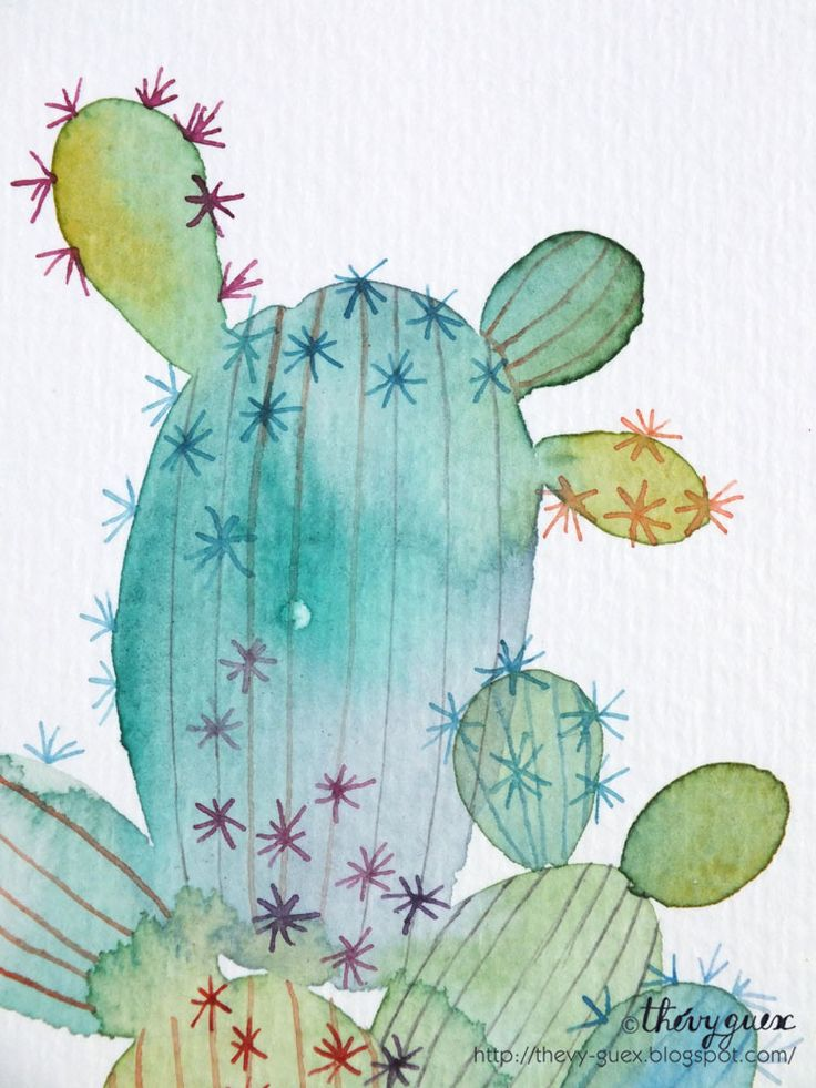 le blog de Thévy!: Aquarelle Cactus*Watercolor Cactus Painting
