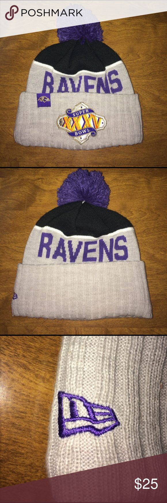 Ravens Super Bowl XXXV Beanie Good condition, very comfortable, 2 little holes in the front you can barley see New Era Accessories Hats
