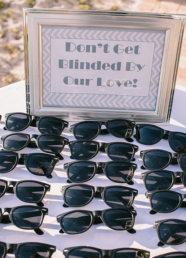 Sunglasses table for outdoor wedding, yellow/grey, chevrons. (Holli & Mark Wedding | Port. St. Joe Beach Florida)