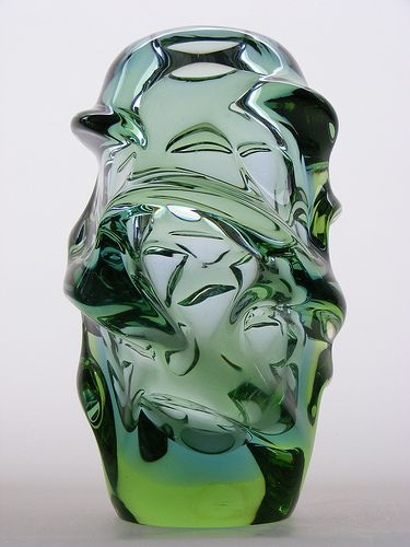 "Skrdlovice blue and green ""Atlas"" glass vase designed by Jan Kotik"