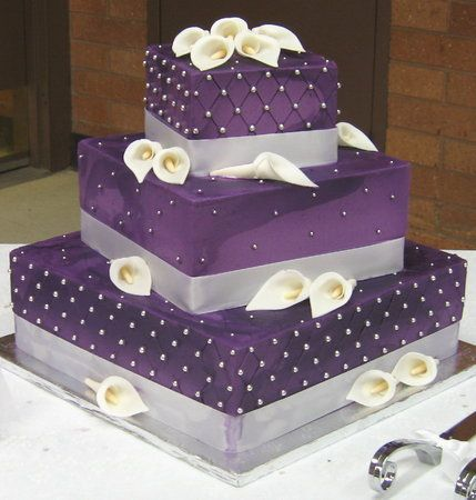 Cake, Purple, Wedding, Square, Calla, Buttercream, Lillies, Stacked, Graceful cake creations