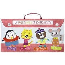 La maleta dels descobriments inclou quatre llibres per a aprendre conceptes bàsics sobre la família, les emocions, l´oratge o les posicions en l´espai de la mà de quatre simpàtics personatges.