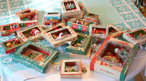 Vintage ornament box dioramas I've been making these for years.   Such a fun way to display my little vintage Christmas figures, etc.