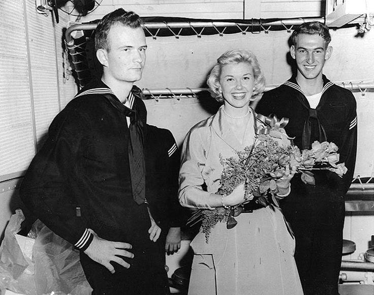 Doris Day visits the crew of the USS Juneau, c.1951-52.