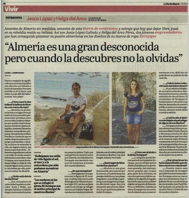 ¡Qué alegría levantarnos hoy con esto! Muchas gracias a Laura y a La Voz de Almería por la entrevista, una excelente manera de que podáis conocer un poquito más nuestro proyecto.