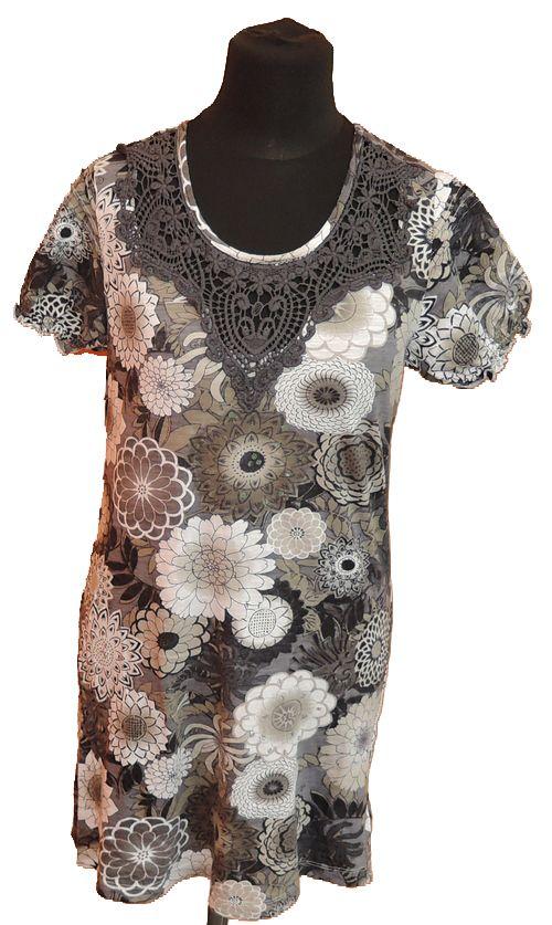 BRUMLA.CZ – Značkový dětský a dospělý second hand a outlet, použité oděvy pro děti a dospělé - Dámská šedá květovaná tunika s flitry zn. Next
