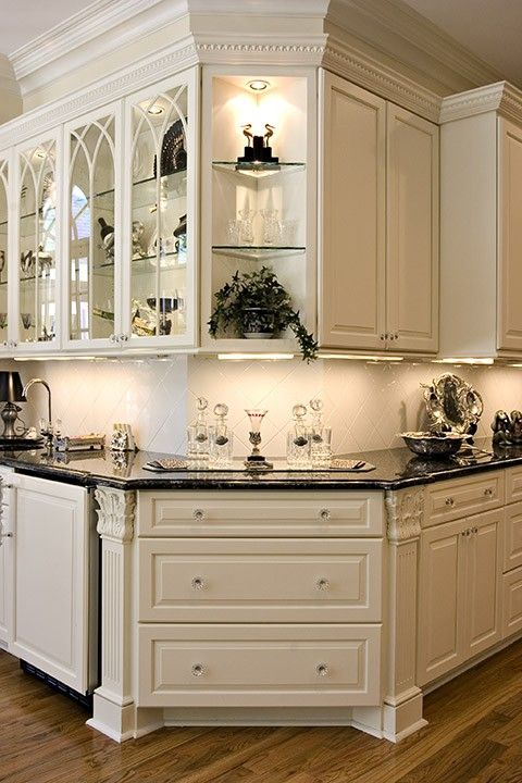 Interesting Corner Wrap Around. I Really Like The Lighted Display Shelves  Above And The Lighted Glass Cabinets To The Left. Also Like The Trim  Pattern On ...