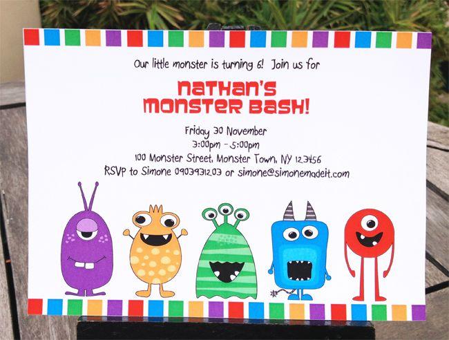 Best Monster Party Invites Ideas On Pinterest Monster - Free printable monster birthday invitation templates