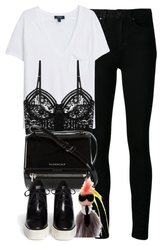 """""""Untitled #3836"""" by london-wanderlust ❤ liked on Polyvore featuring Paige Denim, MANGO, Lonely, Givenchy, Fendi and STELLA McCARTNEY"""