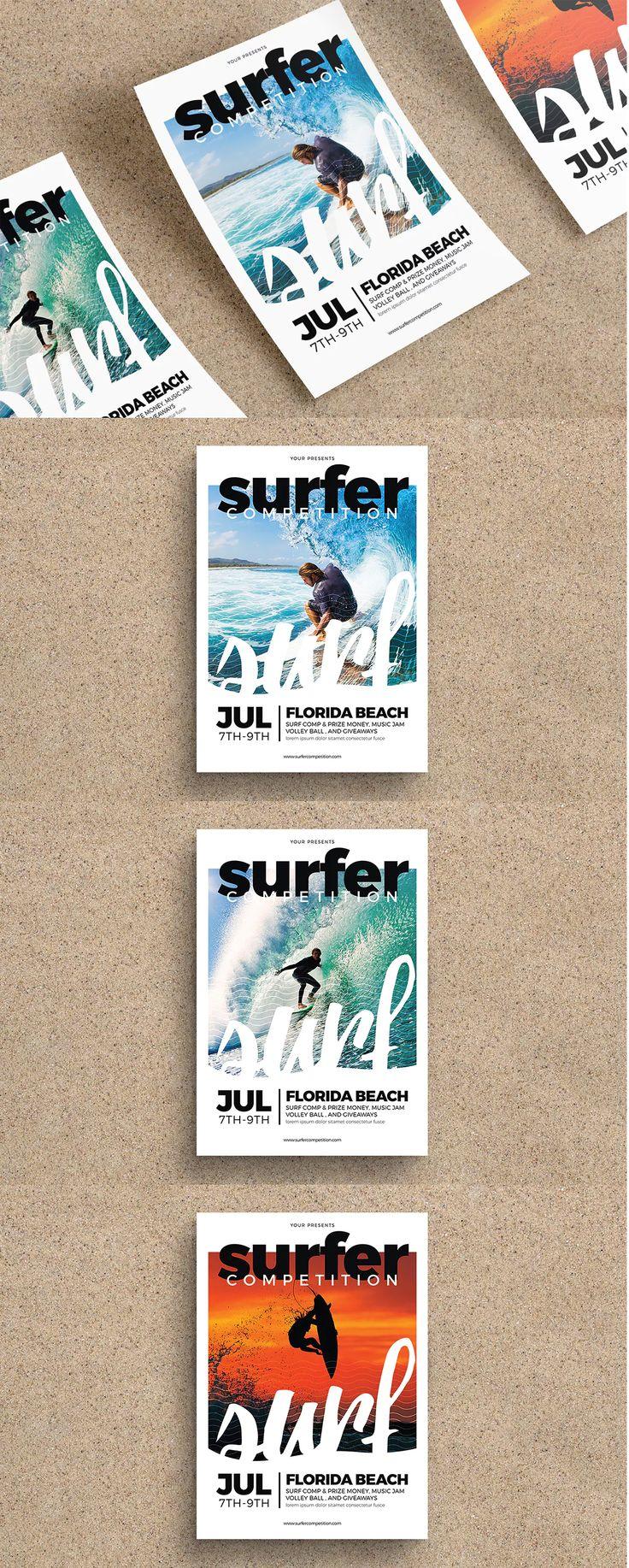 Surfing Flyer Template AI, PSD - A4
