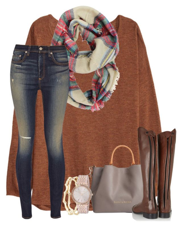 """I'm almost home, Dallas love.."" by annagraceshep ❤ liked on Polyvore featuring H&M, rag & bone, Dooney & Bourke, Ariat, Kendra Scott and Michael Kors"