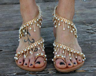 Sandalias de novia Evelyn hecha a mano a pedido por ElinaLinardaki