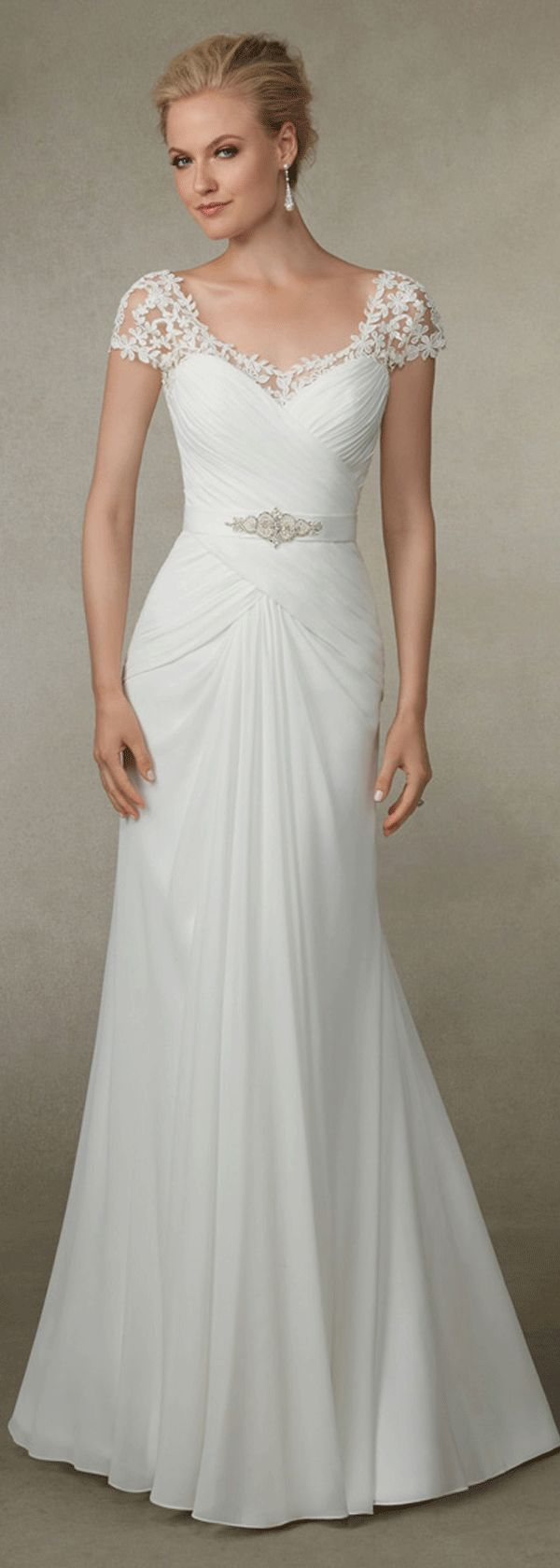 Elegant chiffon scoop neckline sheath wedding dress with beadings; It has an undetachable sash with shining beadings and rhinestones.
