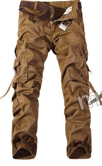 2017 New Men Cargo Pants Big Pockets Brass Button and Clasps