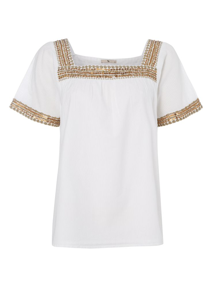 """Create a chic silhouette with this embroidered top. Designed with a square neck and short sleeves, this piece will look great with denim shorts and espadrilles.<br /><ul><li>White square neck embroidered top</li><li>Embroidered detail</li><li>Square neck</li><li>Short sleeves</li><li>Relaxed fit</li><li>Model's height is 5'11""""</li><li>Model wears a size 12</li></ul>"""