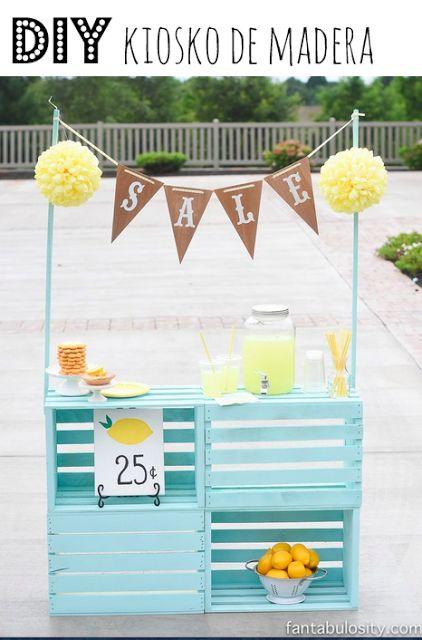 Como hacer un puesto de limonada con cajas de madera