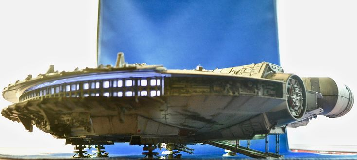 The Bandai 1/72nd scale Millennium Falcon - and the lights all work!!!!  Terrific kit.  Build-up and photo by Stan G. Hyde.