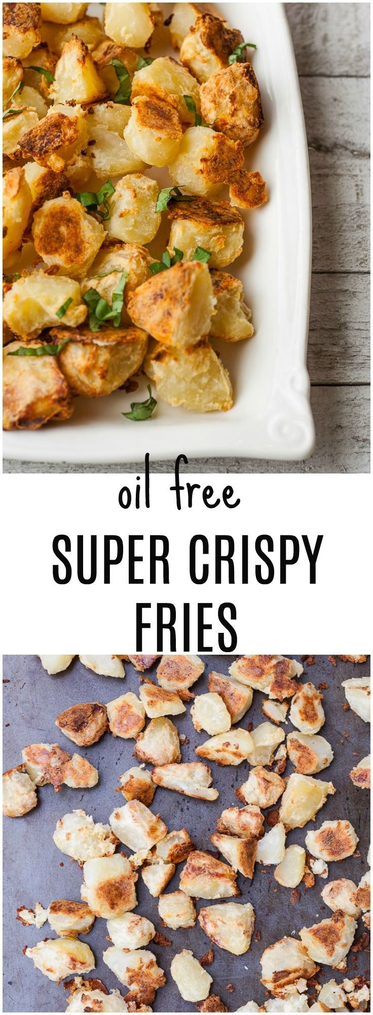 Vegan, oil-free SUPER CRISPY fries, baked in the oven with just a few ingredients.