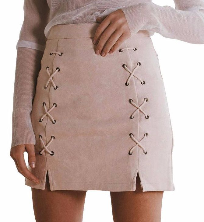 Sexy and sleek - our Toni Skirt is the ultimate must-have piece for the girl with chic style. Features include lace-up loop detailing, a high waistline, invisible back zipper and small side slits. Mat