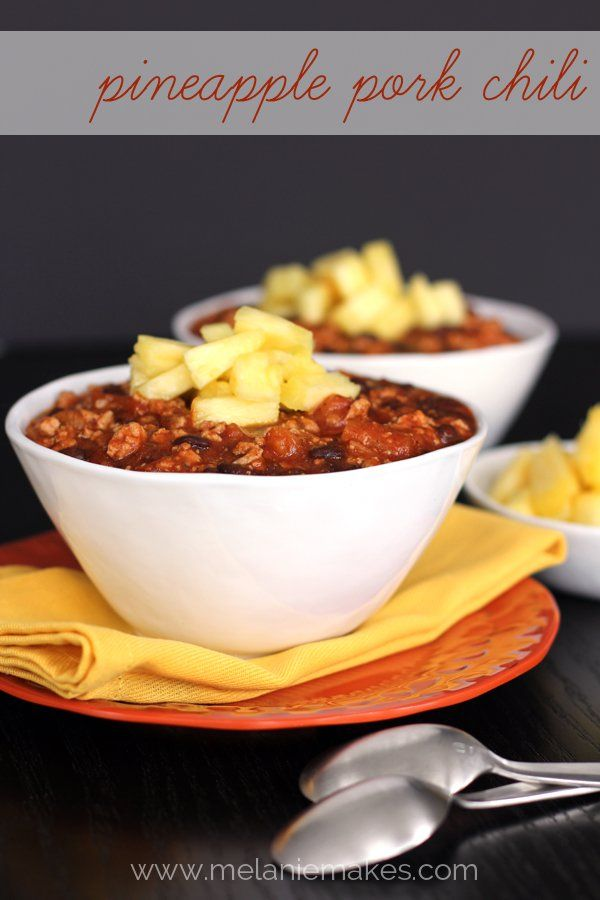 Pineapple Pork Chili- Diced fresh pineapple tops this sweet and smokey ground pork, pineapple salsa, and black bean chili.(12 Uniquely Fabulous Chili Recipes)