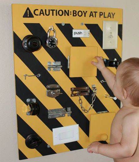 Make a wall of different locks/switches/doors and more for a little kid to have fun with!