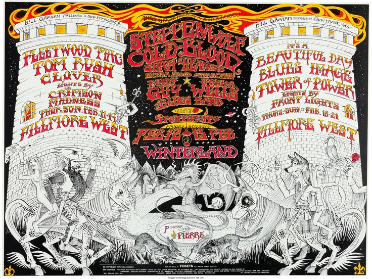 Fleetwood Mac/Steppenwolf Fillmore West/Winterland Concert Poster BG-270 (Bill Graham, 1971). Original poster printed on coated index stock, artwork by Pierre. For a series of shows from February 11-14 at Fillmore West, and February 12-13 and February 18-21 at the Winterland. Acts include Fleetwood Mac, Steppenwolf, Buddy Guy & Junior Wells Blues Band and It's A Beautiful Day.