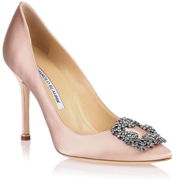 manolo blahnik hangisi satin pump nude shoes