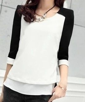 2014 spring women's elegant chiffon shirt o-neck basic color block decoration  top shirt female plus size M-XXL