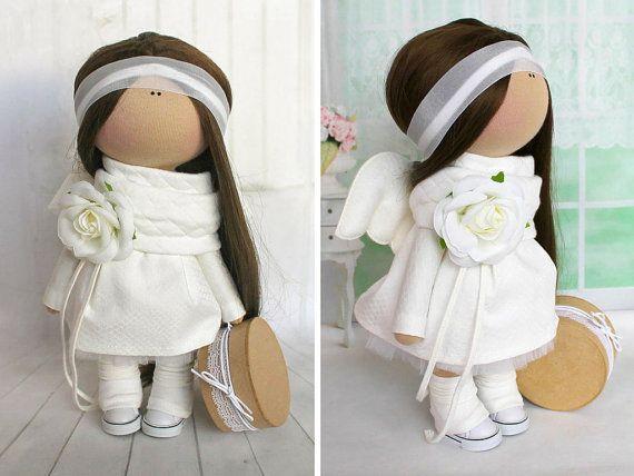 Rag doll Textile doll Fabric doll Handmade doll Soft doll Love doll white color Angel  doll Art doll doll by Master Svetlana Tenitskaya
