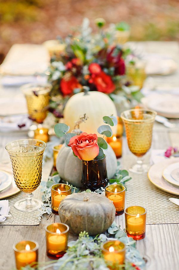 Gorgeous fall wedding table idea.  Actually, it is fabulous inspiration for any outdoor celebration during this season. #fallweddings #autumntablescapes
