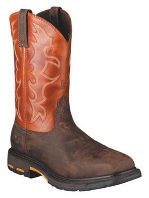 Ariat Workhog Wide Square Toe Steel Toe Pull On Work Boots for Men - Dark Earth/Brick - 10.5 W