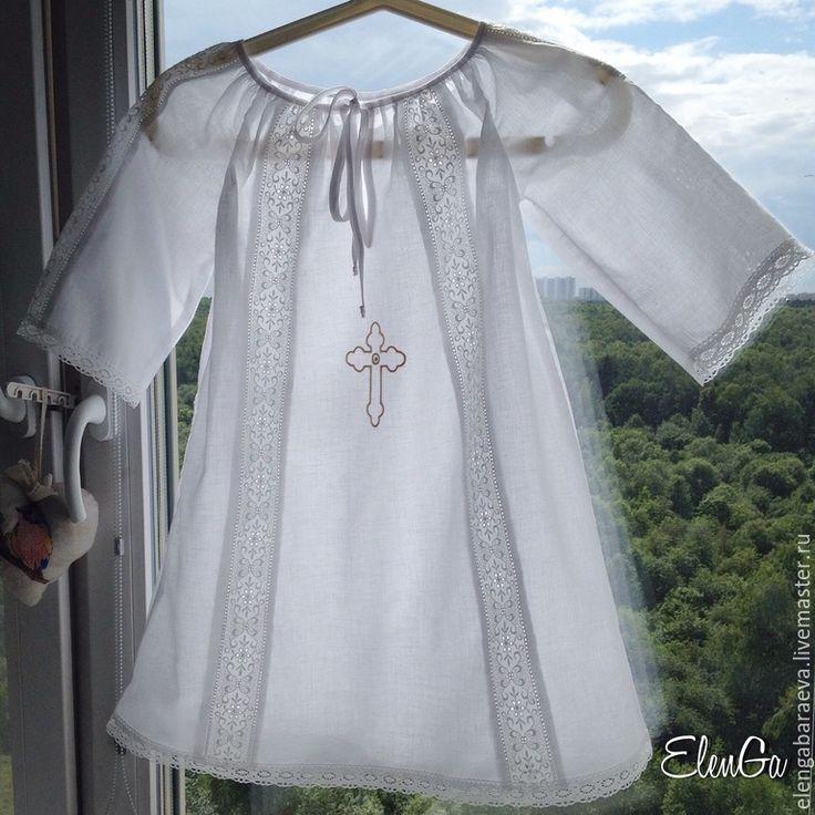 Купить Крестильный набор - СОФИЯ - белый, однотонный, крещение, для крестин, для крещения, крест, крестильная рубашка