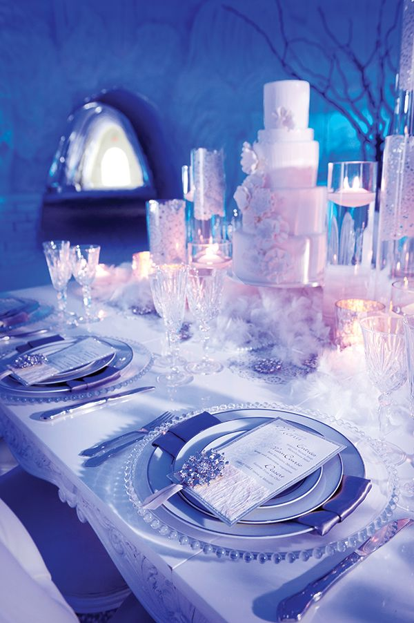 Winter Wonderland Wedding • Photography by: de Belle Photography | Concept and design by: Carte Blanche |  Dishware, stemware & flatware by: Bravo Rentals Table & chairs by: Joe's Prop House |  Cake by: Sweet Couture |  Location: Snow Village / Parc Jean-Drapeau - See more at: http://www.elegantwedding.ca/2013-12-22/inspiration/winter-wonderland-wedding/#sthash.S0XgG7n1.dpuf: