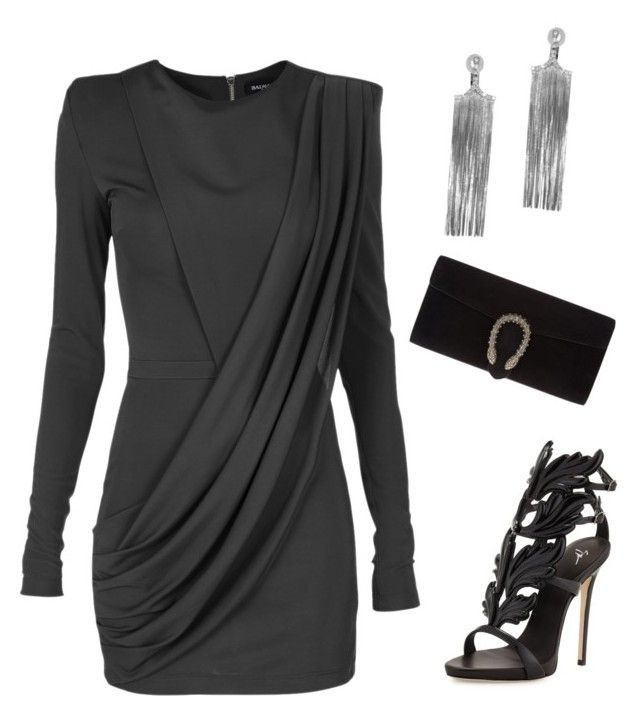 Untitled #348 by aldine-244 on Polyvore featuring polyvore fashion style Balmain Giuseppe Zanotti Gucci Jack Vartanian clothing