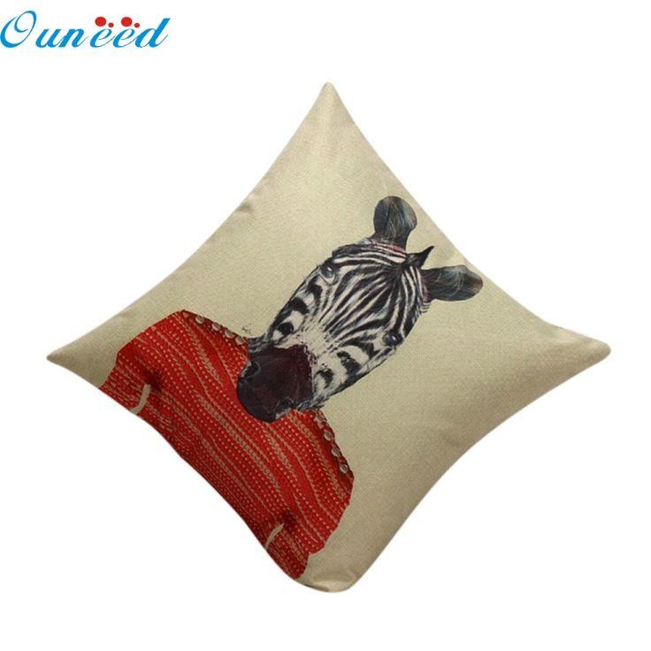 Ouneed Happy Gifts 45X45cm Decorative Vintage Mr. Zebra Cotton Linen Beige Pillow Case Sofa Waist Throw Cushion Cover Home Decor #Affiliate