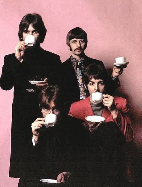 George Harrison, Richard Starkey, John Lennon, and Paul McCartney drinking tea through the years
