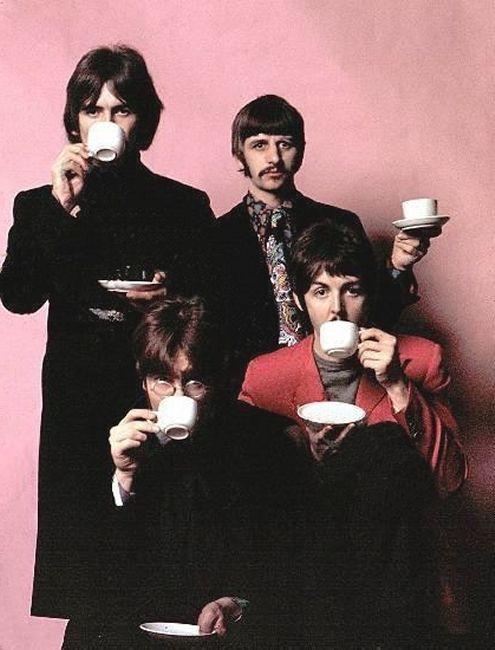 George Harrison, Richard Starkey, John Lennon, and Paul McCartney drinking tea through the years