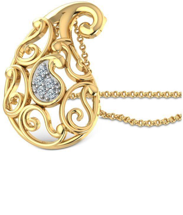 Caratlane Ethea Paisley 18 Kt Certified, Real Diamond