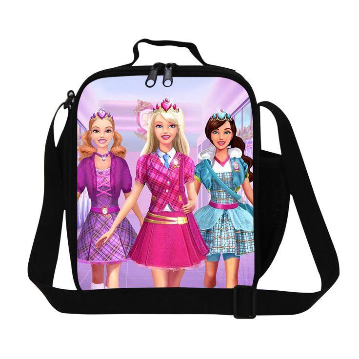 3D Cartoon Princess Print Girls Lunch Bags For Kids Cute Children School Lunch Box Womens Outdoor Travel Portable Food Bag Hot