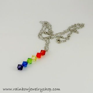 Rainbow crystals hanging from a 20 inch chain, which can be adjusted in length if needed.