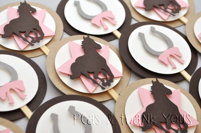 Cowgirl Party Embellished Cupcake Toppers-cowgirl cupcake toppers horse star 12/$24 other items available too