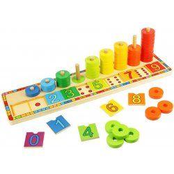 Bigjigs dřevěná motorická a naučná hra Deska nasazování s čísly